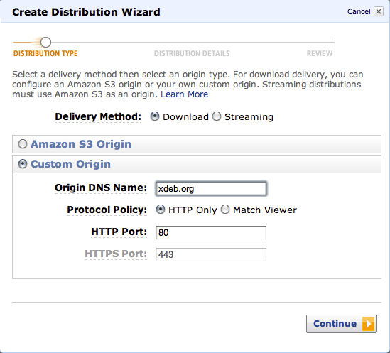 Setting up Amazon CloudFront Distribution 1.