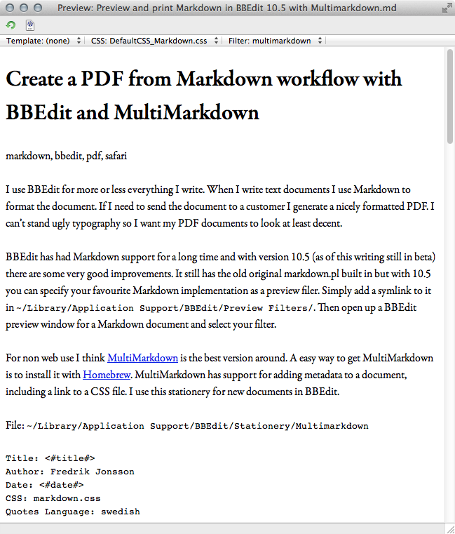 BBEdit Markdown preview