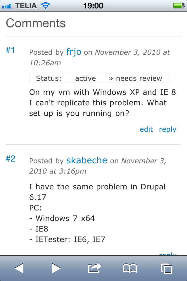 Drupal.org comment with iphone.css