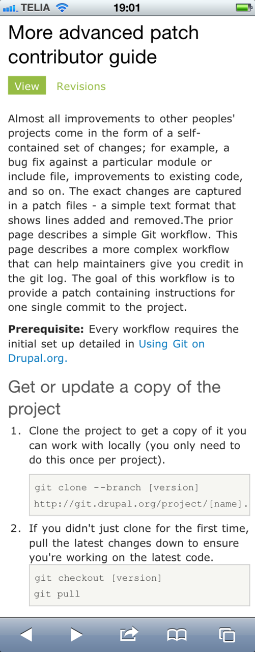 Drupal.org documentation with iphone.css