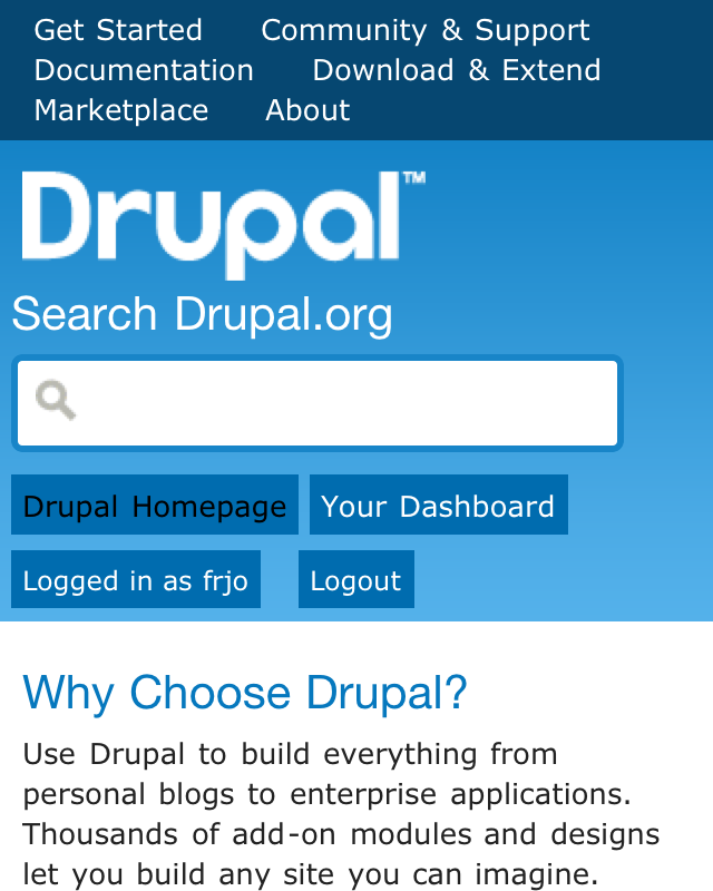 Drupal.org header with iphone.css
